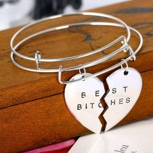 Cute New Best B*tches Connecting Heart Bracelets♡